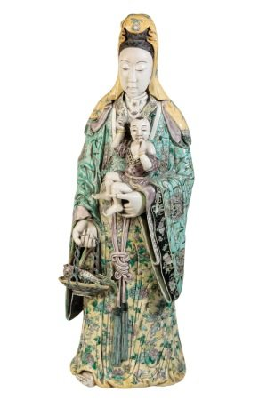 LARGE FAMILLE-VERTE FIGURE OF GUANYIN AND CHILD, QING DYNASTY, 19TH CENTURY