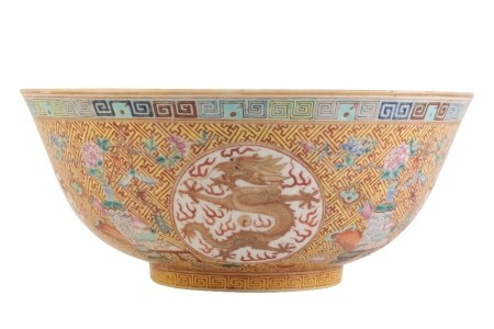 FAMILLE ROSE AND IRON-RED 'DRAGON' MEDALLION BOWL, GUANGXU SIX CHARACTER MARK AND OF THE PERIOD