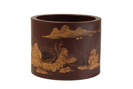 YIXING STONEWARE SLIP-DECORATED 'LANDSCAPE' BRUSHPOT, LATE QING / REPUBLIC PERIOD