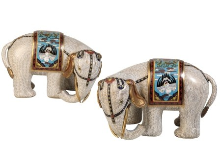PAIR OF CLOISONNE ELEPHANTS, 20TH CENTURY