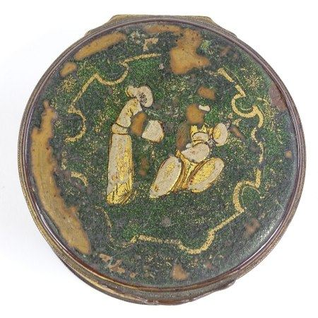 An 18th/19th century green and gilt lacquer box with gilt-metal mounts, 7cm diameter