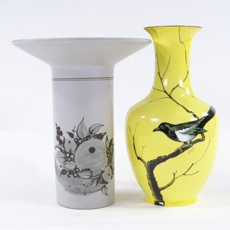 A Rosenthal vase with flared rim, height 26cm, and a Cauldon yellow ground china vase with hand