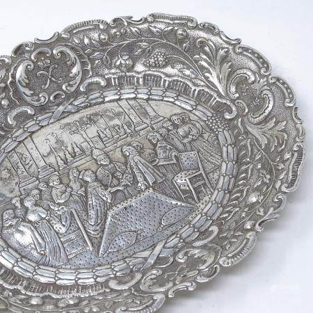 A Portuguese? oval silver commemorative dish, with central relief embossed Royal marriage scene