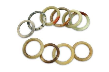 A collection of ten Chinese Jade bangles,