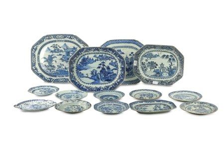 A quantity of Oriental blue and white graduated dishes and eight plates and a Dutch plate.