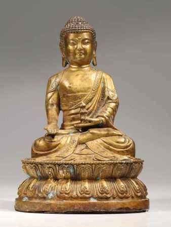 BUDDHABronze,China, 18th centuryDimensions: Height 17 cm / Wide 12 cm / Depth 12 cmWeight: 866