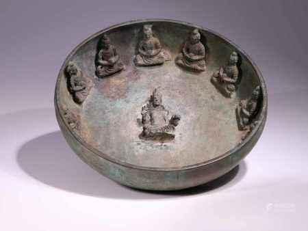 BOWL WITH BUDDHASBronze,Gandhara, 6th centuryDimensions: Height 8 cm / Wide27 cm / Depth 27