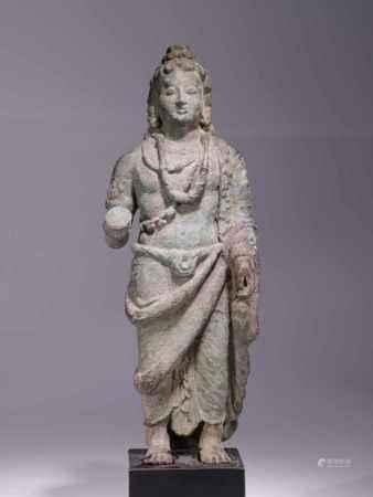 STANDING BUDDHA MAITREYABronze,Gandhara, 5th centuryDimensions: Height 35 cm / Wide 13 cm / Depth