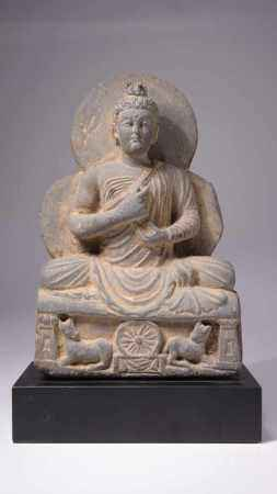 BUDDHAGrey SchistGandhara, 4th century B.C.Dimensions: Height 22 cm / Wide 15 cm / Depth 12