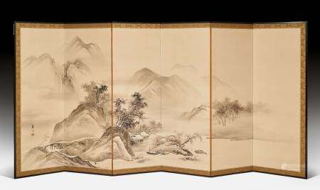 A PAIR OF SIXFOLD BYOBU BY SUZUKI KASON (1860-1919).