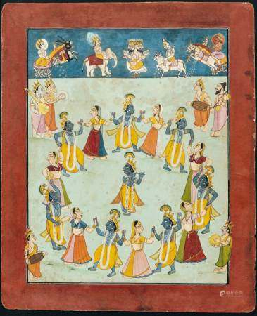 A MINIATURE PAINTING OF A RASALILA.