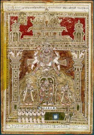 A MINIATURE PAINTING OF VISHNU WITH SHRI AND BHU-DEVI.