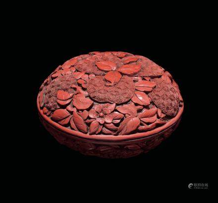 A carved red lacquer box and cover with floral decoration, China, Qing Dynasty, Qianlong Period (1736-1795)