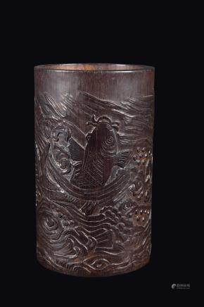 A carved bamboo brushpot with carp, China, Qing Dynasty, Qianlong Period (1736-1795)