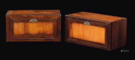 A pair of huanghuali and camphor wood briefcases, China, Qing Dynasty, 19th century