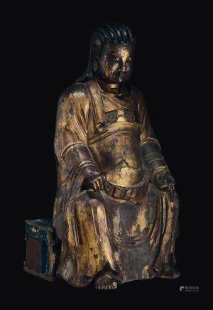 A large gilt-lacquered wood figure of dignitary, China, Ming Dynasty, 17th century