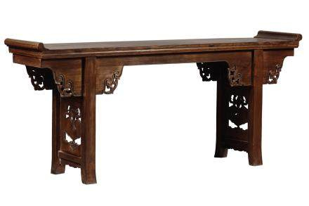 A large homu recessed-leg table with openwork sides, China, Qing Dynasty, 19th century