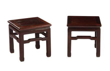 A pair of homu stools, China, Qing Dynasty, 19th century
