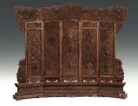 A large and extraordinary huali five-shutters screen, China, Qing Dynasty, Daoguang Period (1821-1850)