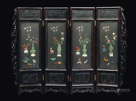 A four-shutters screen with jade, ivory and sempi-precious stone inlays, China, Qing Dynasty, 19th century