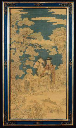 A large, fine, and extremly rare Imperial silk Kesi depicting wise men and children, China, Qing Dynasty, Qianlong Period (1736-1795)