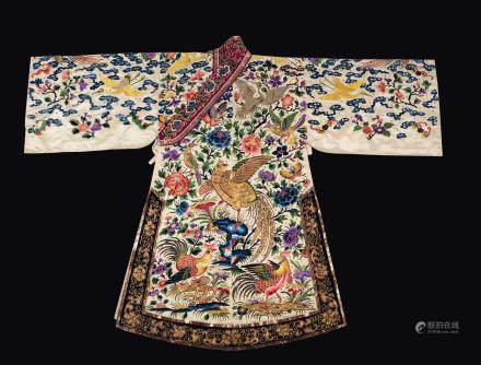 A silk flowers-ground dress embroidered with roosters, cranes and pheasants, China, Qing Dynasty, 19th century