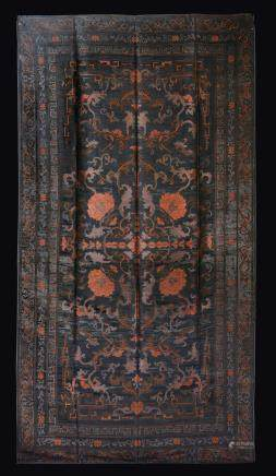 A silk cloth embroidered with floral and geometrical decoration, China, Qing Dynasty, 19th century