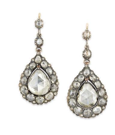 LATE 18TH/EARLY 19TH CENTURY DIAMOND EARRINGS