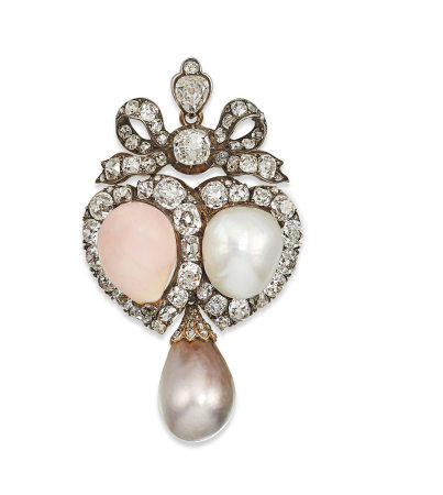 LATE 19TH CENTURY CONCH PEARL, NATURAL PEARL AND DIAMOND PENDANT / BROOCH