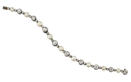ANTIQUE NATURAL PEARL AND DIAMOND BRACELET