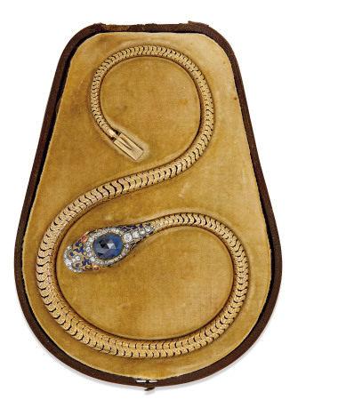 VICTORIAN SAPPHIRE, GARNET, ENAMEL AND DIAMOND SERPENT NECKLACE
