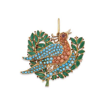 A MULTI-GEM AND ENAMEL BIRD BROOCH / PENDANT, GIULIANO FOR SIR EDWARD BURNE-JONES