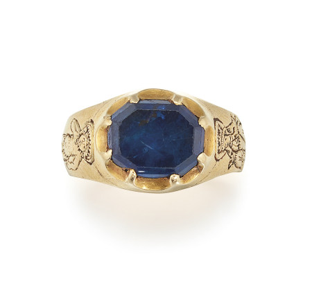 A RARE MEDIEVAL SAPPHIRE ICONOGRAPHIC RING