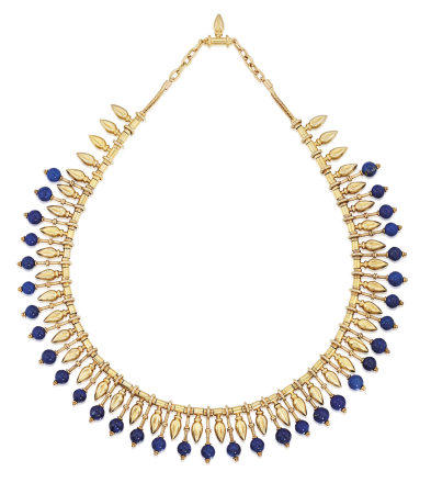 ARCHAEOLOGICAL REVIVALIST GOLD AND LAPIS LAZULI NECKLACE