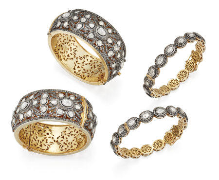 TWO PAIRS OF INDIAN DIAMOND BANGLES