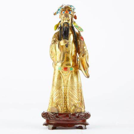 Chinese Republic Period Enameled Silver Figure
