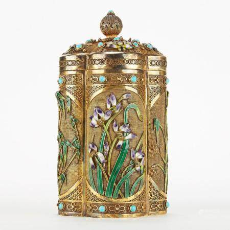 Chinese Enameled Silver Box w/ Flowers