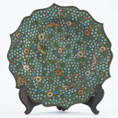 Early Chinese Enameled Silver Plate Platter