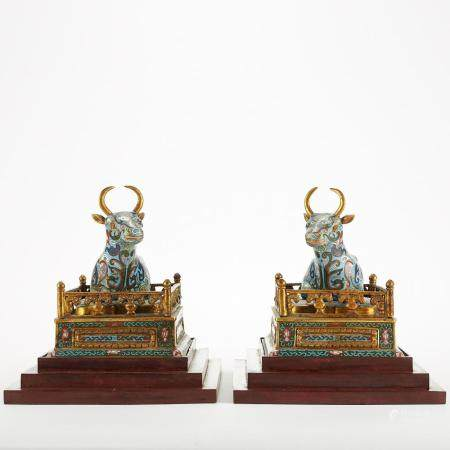 Pair Chinese Cloisonne Bulls w/ Stands
