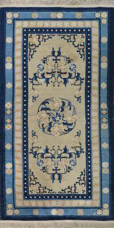 19th c. Chinese Wool and Cotton Rug carpet