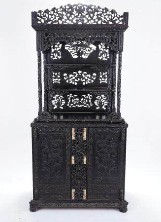Large 19th C. Chinese Carved Rosewood Cabinet