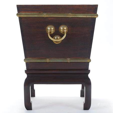 Chinese Brass Bound Rosewood Ice Chest