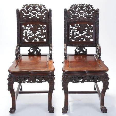 Pair Chinese Export Carved Rosewood Chairs