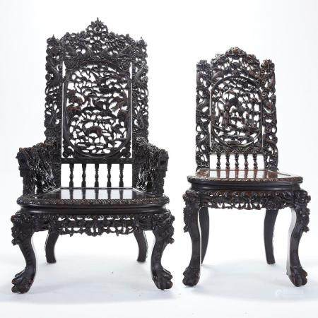 Pair Chinese Export Carved Rosewood Side Chairs