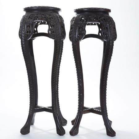 Pair Chinese Carved Rosewood Plant Stands w/ Marble Inset