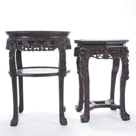 Pr: Chinese Carved Rosewood Side Tables w/ Marble Inset