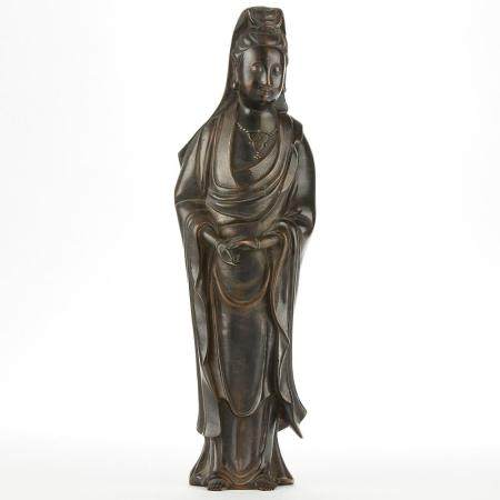 Chinese Bronze Guanyin w/ Silver Inlay 4 Character Mark -Lar