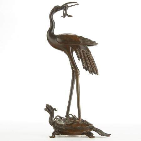Chinese Bronze of a Crane on a Tortoise