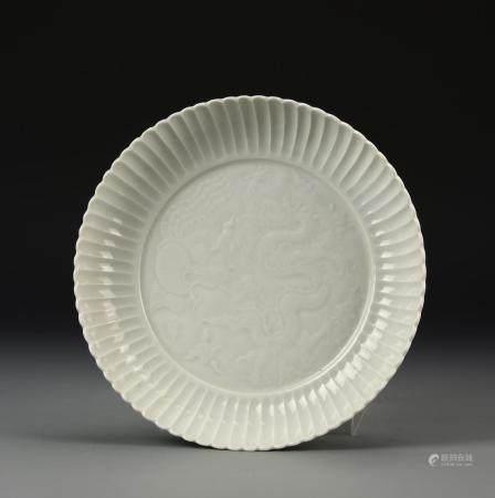 WHITE GLAZED DRAGON DISH