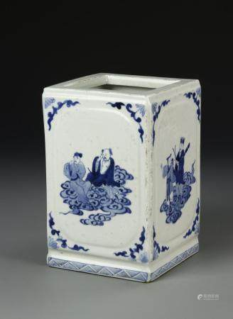 BLUE AND WHITE SQUARE BRUSHPOT